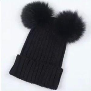 Pom Pom Fluffy Knitted Faux Fur Chunky Beanie